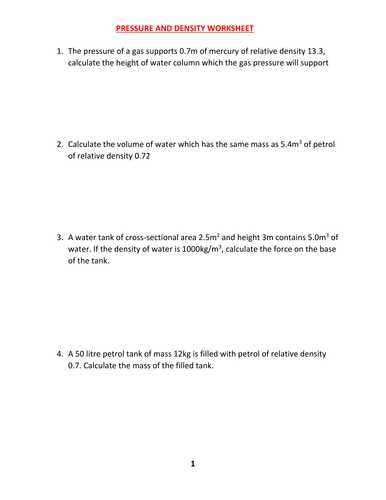 Pressure Conversions Chem Worksheet 13 1 Also Density and Pressure Worksheet with Answers by Kunletosin246