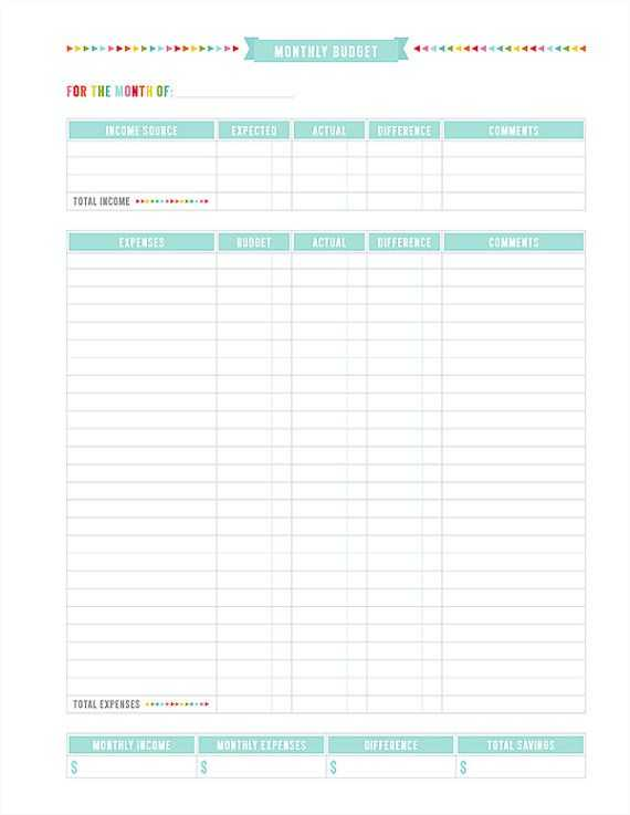 Printable Budget Worksheet Pdf Also Monthly Bud Printable Pdf Planner Page Instant by Misstiina