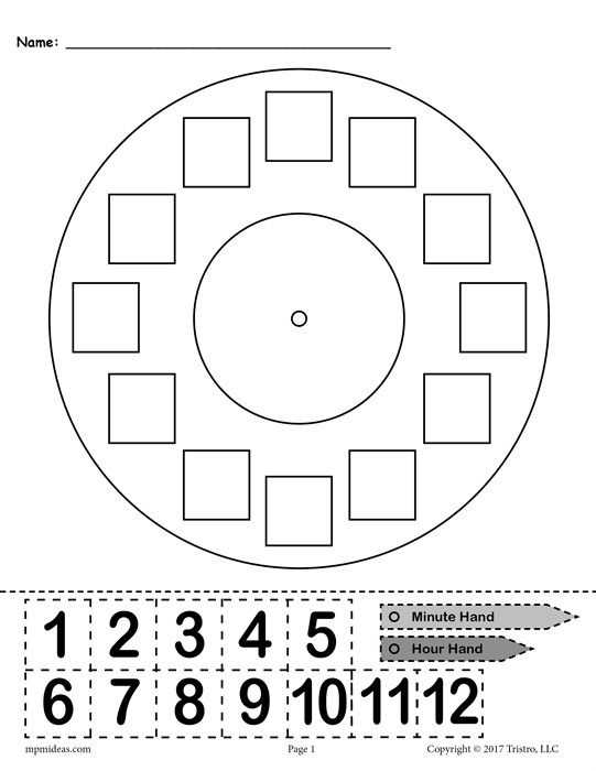 "Printable Clock Worksheets or Free Printable ""build A Clock"" Telling Time Activity"