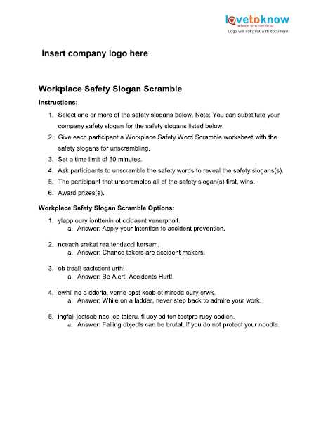 Printable Logo Quiz Worksheet and Safety Games for the Workplace