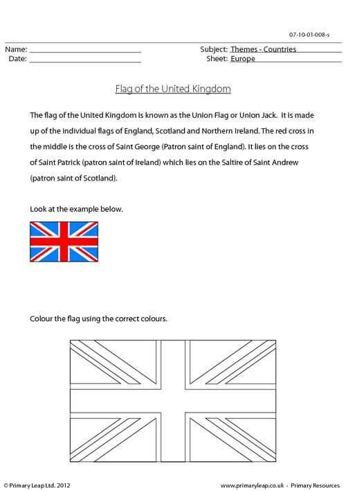 Printable Logo Quiz Worksheet or Primaryleap the United Kingdom Flag Worksheet