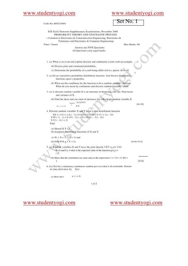Probability theory Worksheet 1 with Probability theory and Stochastic Process