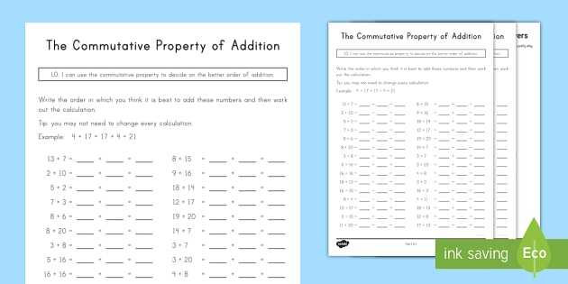 Properties Of Addition Worksheets and Mutative Property Of Addition Worksheet Activity Sheet