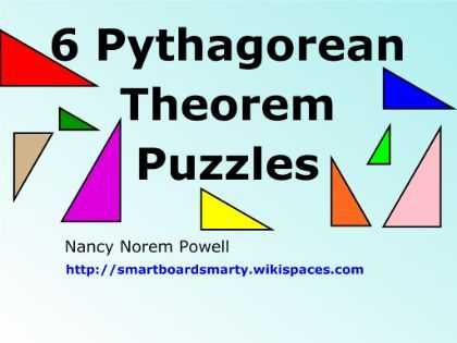 Pythagorean Puzzle Worksheet Answers Also 6 Pythagorean theorem Puzzles to Use On Your Smartboard