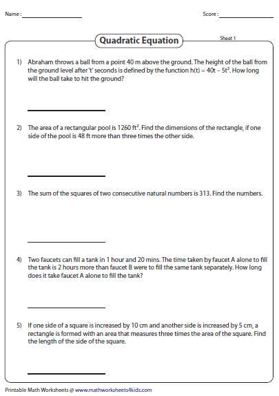 Quadratics Review Worksheet or Word Problems Involving Quadratic Equations