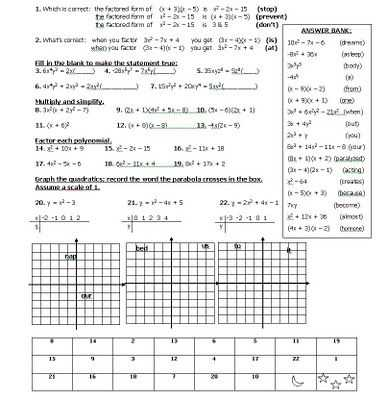 Quadratics Review Worksheet together with 60 Best Factoring and Quadratics Images On Pinterest