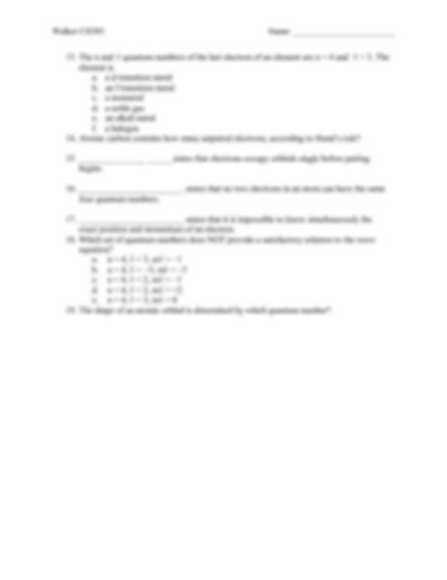 Quantum Numbers Worksheet or Ex02 Day07 Quantum Numbers Wks Walker Ch301 Name Worksheet Quantum