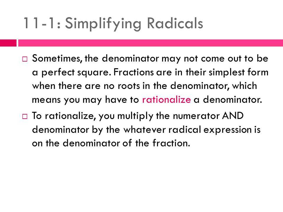 Rationalizing Denominators Worksheet Answers and 11 1 Simplifying Radicals Ppt Video Online