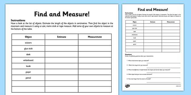 Reading A Tape Measure Worksheet or Measure and Begin to Record Lengths and Heights 2014