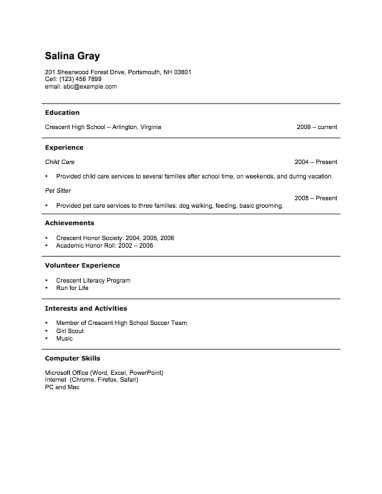 Resume Worksheet for High School Students Also Free Resume Template by Hloom