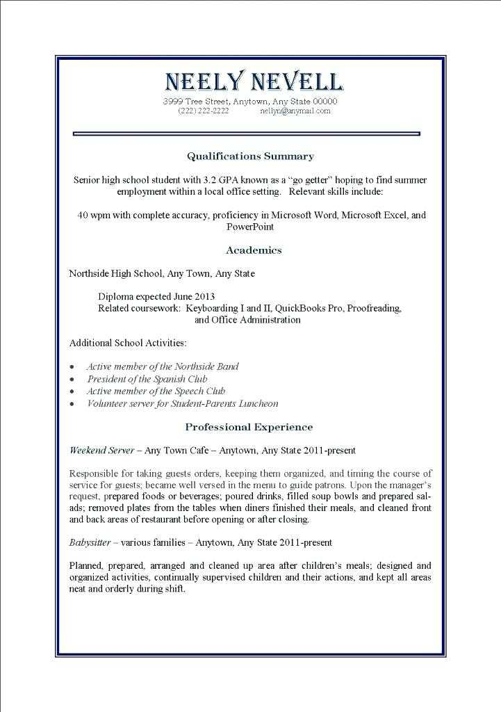 Resume Worksheet for High School Students with High School Students Jobs Part Time Guvecurid