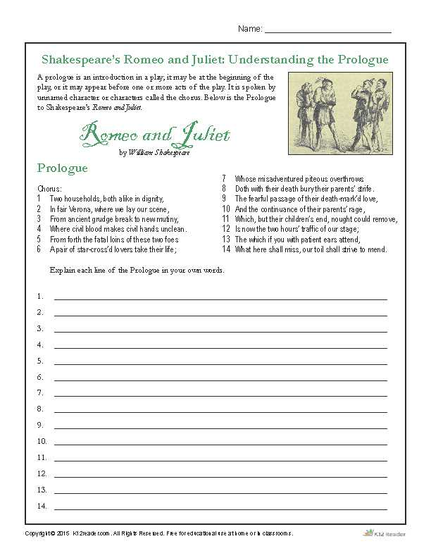 Romeo and Juliet Prologue Worksheet Along with Shakespeare S Romeo and Juliet Understanding the Prologue