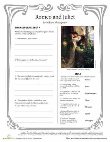 Romeo and Juliet Prologue Worksheet and 120 Best Romeo and Juliet Etlobest Images On Pinterest