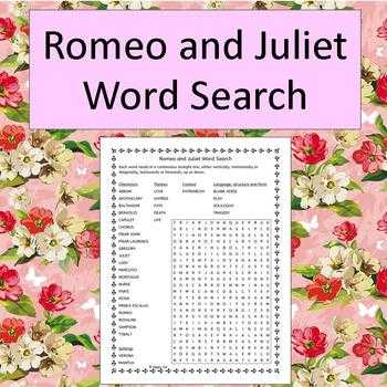 Romeo and Juliet Prologue Worksheet together with Romeo and Juliet Word Search Teaching Resources