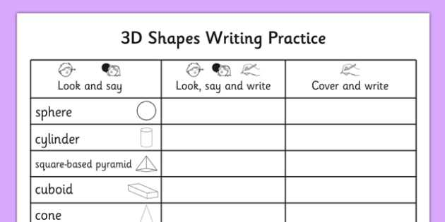 Scale Practice Worksheet or 3d Shapes Writing Practice Worksheet 3d Shapes Writing