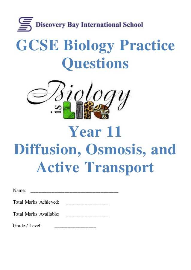 Science 8 Diffusion and Osmosis Worksheet Answers together with Diffusion Osmosis and Active Transport Practice Questions