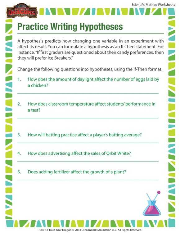 Scientific Method Review Identifying Variables Worksheet and Practice Writing Hypotheses Hypothesis In the Scientific Method