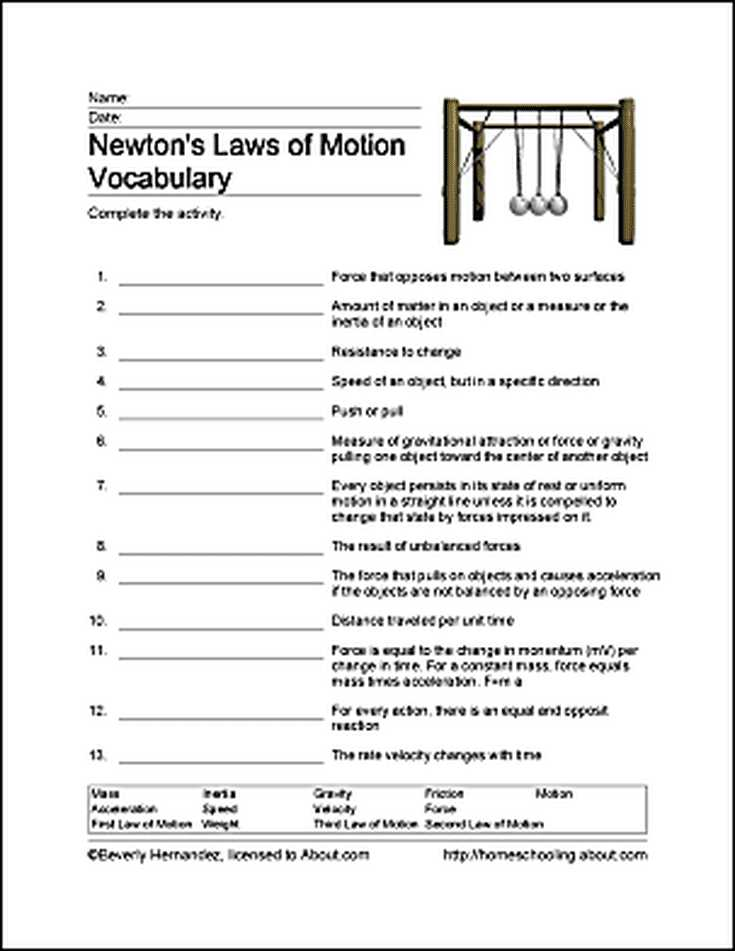 Search for Matter Vocabulary Review Worksheet Answers Also Fun Ways to Learn About Newton S Laws Of Motion