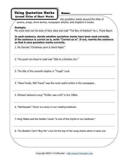 Semicolons and Colons Worksheet Answers Also Quotation Marks