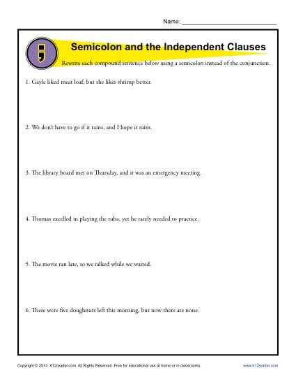 Semicolons and Colons Worksheet Answers Also Semicolon and Independent Clauses