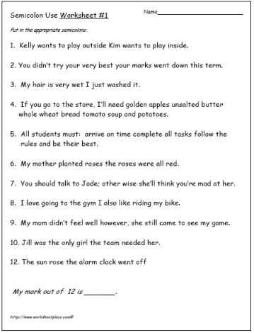 Semicolons and Colons Worksheet Answers with Semicolon Worksheets Grammar Writing Pinterest
