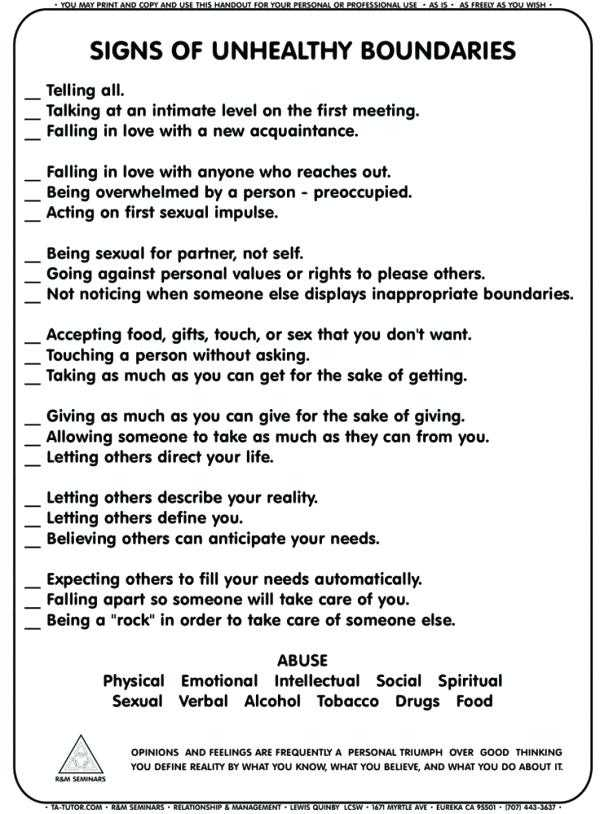 Setting Healthy Boundaries In Recovery Worksheets with Healthy Relationships Worksheets Healthy Relationship Boundaries