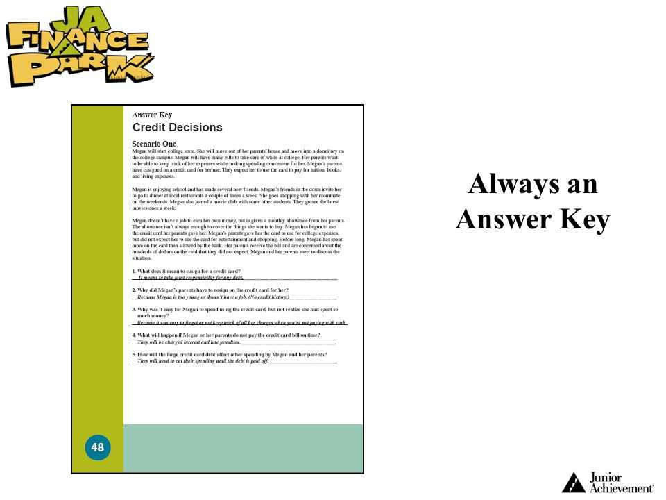 Shopping for Credit Worksheet Answer Key Also Wel E to Ja Finance Park™ Ppt