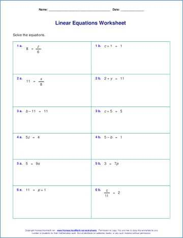 Simple Equations Worksheet and 2 Step Equation Worksheets