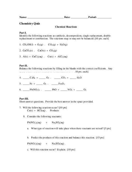 Six Types Of Chemical Reaction Worksheet and Students Identify the Four Different Types Of Chemical Reactions