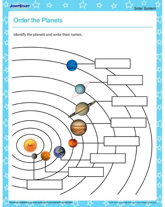 Solar System Worksheets with order the Planets – solar System Worksheets for Kids