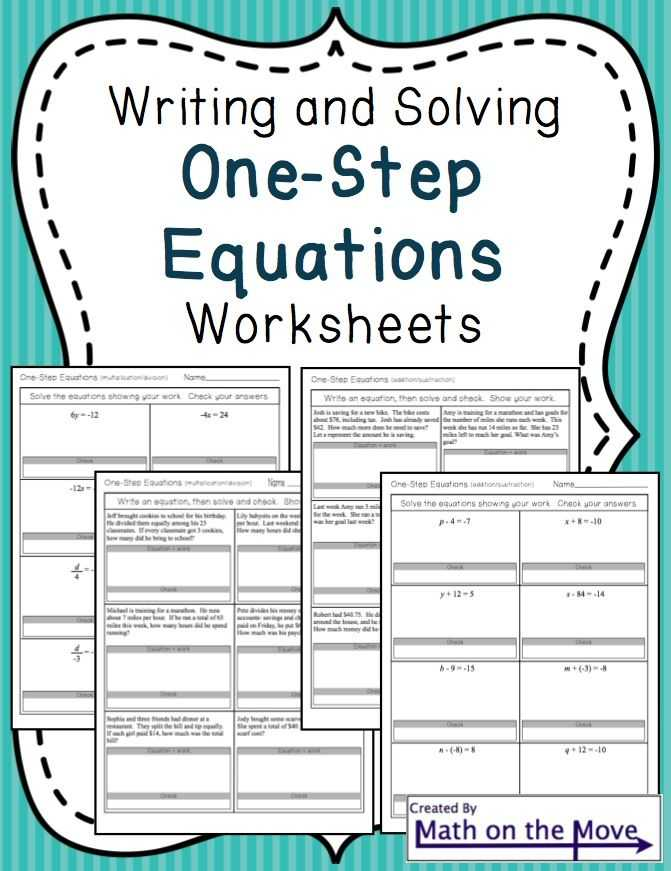 Solving One Step Equations Worksheet or 75 Best Pre Algebra Images On Pinterest