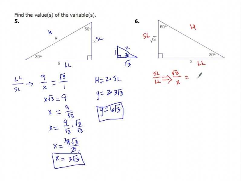 Solving Right Triangles Worksheet and Special Right Triangles Worksheet