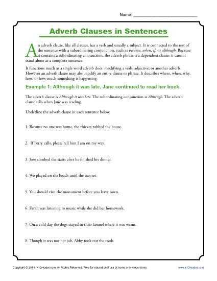 Subordinate Clause Worksheet Also Adverb Clauses In Sentences