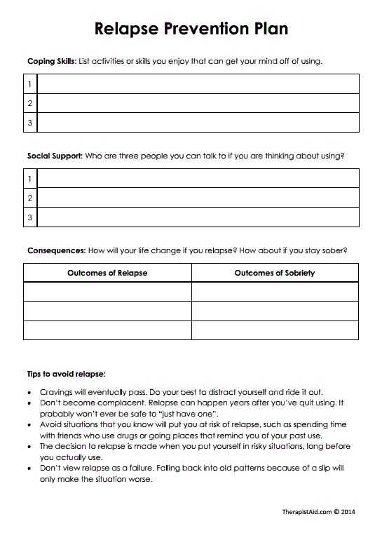 Substance Abuse Worksheets and 37 Best Relapse Prevention Images On Pinterest