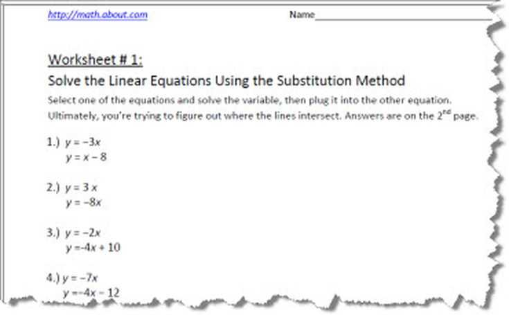 Systems Of Equations Activity Worksheet with Systems Of Equations by Substitution Worksheets