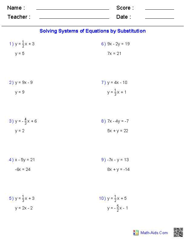 Systems Of Equations Substitution Worksheet Also System Equations Worksheet Answers the Best Worksheets Image