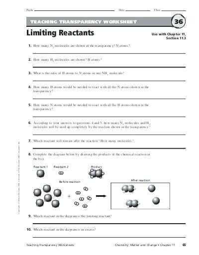 Teaching Transparency Worksheet Answers Chapter 9 and Teaching Transparency Worksheet Limiting Reactants Kidz Activities