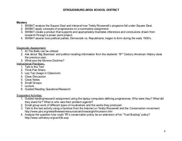 Teddy Roosevelt Square Deal Worksheet or 20th Century Am History Cp