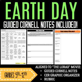 The Lorax Movie Worksheet Answers or Earth Day Movie Guides Resources & Lesson Plans