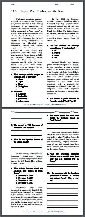 The New Frontier and the Great society Worksheet Answers or Japan Pearl Harbor and War Free Printable Reading with Questions