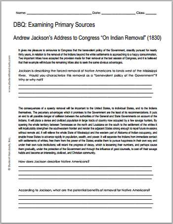 The organization Of Congress Chapter 5 Worksheet Answers with andrew Jackson Indian Removal 1830 Free Printable Dbq