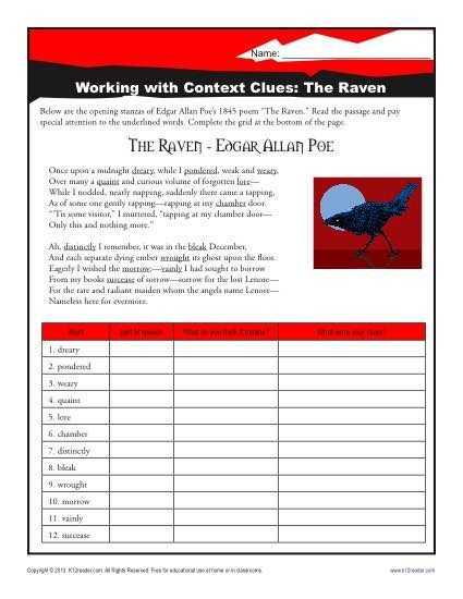 The Raven Worksheets for Middle School and the Raven