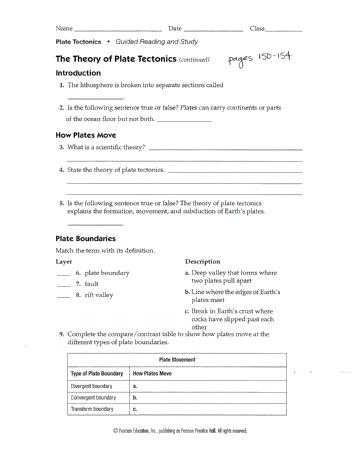 The theory Of Plate Tectonics Worksheet and Plate Tectonics Worksheet Answers – Streamcleanfo