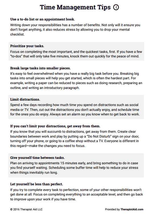 Therapist Aid Worksheets Also Time Management Tips Preview therapy Techniques Pinterest