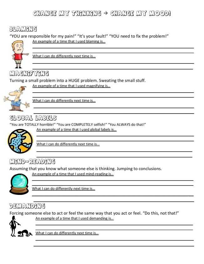 Thought Stopping Worksheet and Anger Management Worksheet