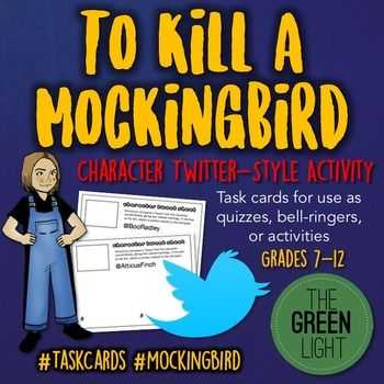 To Kill A Mockingbird Character Worksheet as Well as to Kill A Mockingbird Twitter Style Activity Task Cards Q