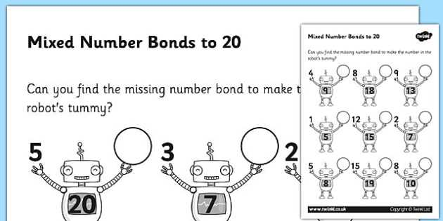 Touch Math Worksheets Generator with Mixed Number Bonds to 20 On Robots Worksheet Activity Sheet