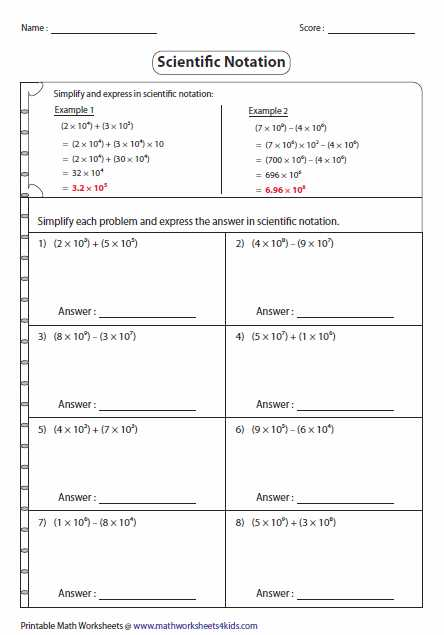 Transition to Algebra Worksheets as Well as Simplify and Express In Scientific Notation