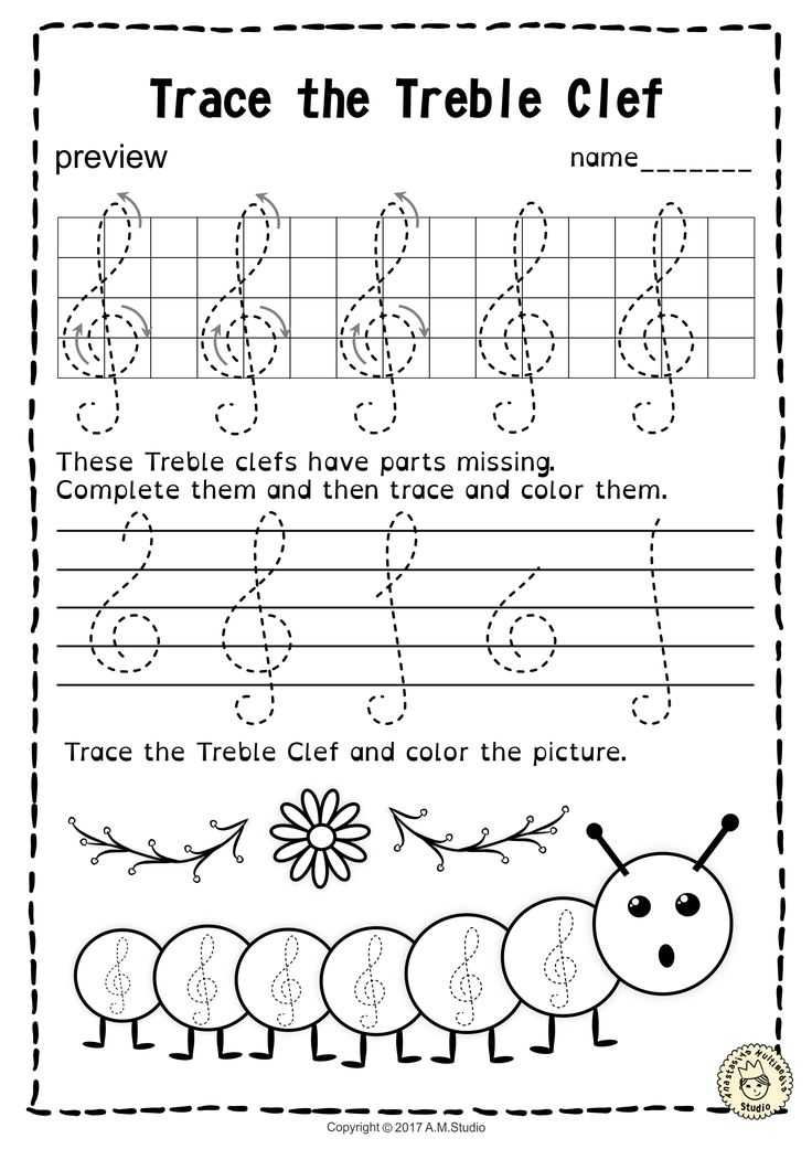 Treble Clef Worksheets Also 133 Best Tracing Music Notes Worksheets Images On Pinterest