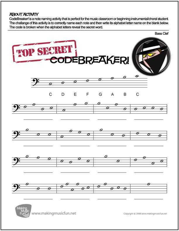 Treble Clef Worksheets with Codebreaker
